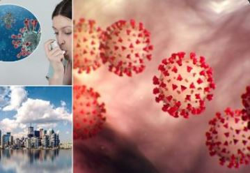 image of girl using inhaler, city, and covid germs