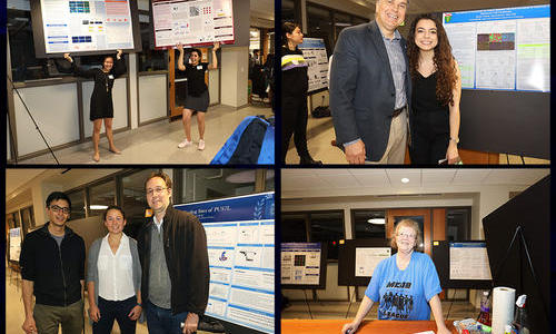 4 photos - two poster presenters - joseph wolenski with student - david breslow and yannick jacob with student - crystal adamchek signing people in