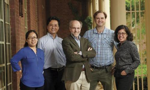 (l-r) Yumei Wu, Xinran Liu, Pietro De Camilli, Derek Toomre, and Shirin Bahmanyar (Photo by Anthony DeCarlo)